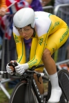 Shara Gillow of Australia races in the Olympic Cycling time trials at Hampton Court Wednesday, Aug. 1, 2012 in London. (Anthony L. Solis/Santa Cruz Sentinel)