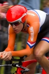 Marianne Vos, the Olympic gold medalist in women's road cycling, races in the time trials at Hampton Court on Wednesday, Aug. 1, 2012 in London. Vos placed 16th in the 29k time trial. (Anthony L. Solis/Santa Cruz Sentinel)