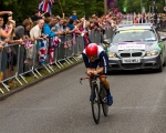 Elizabeth Armitstead of Great Britain recieves the cheers of her compatriots as she races in the Olympic women's cycling time trials at Hampton Court on Wednesday, Aug. 1, 2012 in London. Armitstead placed 10th with a time of 39:26.24. (Anthony L. Solis/Santa Cruz Sentinel)