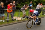 Great Britain's Emma Pooley races past spectators during the Olympic women's cycling time trials at Hampton Court on Wednesday, Aug. 1, 2012 in London. (Anthony L. Solis/Santa Cruz Sentinel)