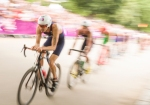 Stuart Hayes of Great Britain leads the pack during the cycling leg of the men's Olympic Triathlon at Hyde Park on Tuesday, Aug. 7, 2012 in London. (Anthony L. Solis/Santa Cruz Sentinel)