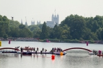 Swimmers get ready to enter The Serpentine at Hyde Park for the men's Olympic marathon swim on Friday, Aug. 10, 2012 in London. (Anthony L. Solis/Santa Cruz Sentinel)
