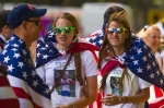 Friends and family of Team USA walker Maria Michta show their support during the women's Olympic race walk near Buckingham Palace on Saturday, Aug. 11, 2012 in London. (Anthony L. Solis/Santa Cruz Sentinel)