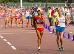 Olga Kaniskina of the Russian Federation leads the women's Olympic race walk at the People's Republic of China's Hong Liu keeps pace on Saturday, Aug. 11, 2012 in London. Kaniskina placed second. (Anthony L. Solis/Santa Cruz Sentinel)