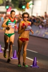 Spain's Maria Vasco stays ahead of Ana Cabecinha of Portugal during the women's Olympic race walk on Saturday, Aug. 11, 2012 in London. (Anthony L. Solis/Santa Cruz Sentinel)