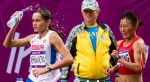 Elena Lashmanova of Russia and Shenjie Qieyang of China try to catch leader Olga Kaniskina of Russia (not pictured) as the Ukranian coach looks on during the women's Olympic race walk on Saturday, Aug. 11, 2012 in London. Lashmanova overtook Kaniskina on the final lap to win the gold medal. Qieyang took the bronze. (Anthony L. Solis/Santa Cruz Sentinel)
