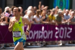 Methkal Abu Drais of Jordan runs in the men's Olympic marathon on Sunday, Aug. 12, 2012 in London. (Anthony L. Solis/Santa Cruz Sentinel)